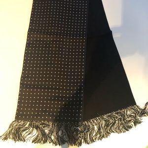 Other - Elegant black wool/black silk w dots 50 inch scarf